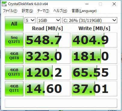 LIFEBOOK A561/D、SSDの性能