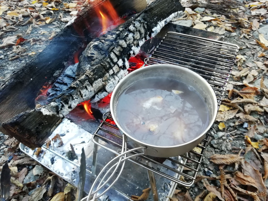 デイキャンプ 焚き火 ぜんざい