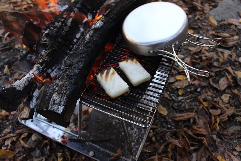 デイキャンプ 焚き火 餅やき